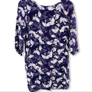 Navy blue bird all over print shift dress medium